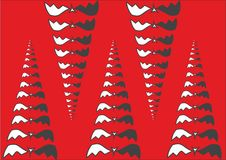 Abstract illustration of pyramids, cones or fangs from bat. Red background. Halloween concept. Stock Photo