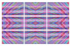 Pixel multicolor ornament in the frame six fragments. Royalty Free Stock Photography