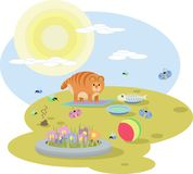 Abstract illustration of  red cat with toys on the meadow in Sunny day. Abstract illustration of red cat with toys Stock Photography
