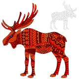 Abstract Illustration  of  red elk, moose and painted its outline on white background , isolate. Illustration of abstract red elk, moose and painted its outline Royalty Free Stock Images