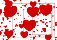 Abstract illustration with red hearts and shadows Royalty Free Stock Photo
