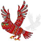 Abstract Illustration of  red owl, bird and painted its outline on white background , isolate Stock Photo