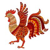 Abstract Illustration with  red rooster, animal, white background , isolate Stock Photo