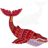 Abstract Illustration of red whale, animal and painted its outline on white background , isolate Stock Image