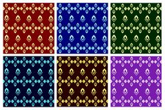 Bright set vectors. Beautiful seamless pattern on a colored dark backgrounds. vector illustration