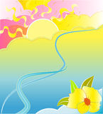 Abstract illustration of river and flower Stock Photos