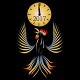 Abstract illustration of a rooster on a black background. 2017 fiery red rooster. Clock. illustration Royalty Free Stock Images