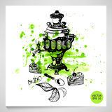 Abstract illustration with a samovar. Tea party. Abstract illustration with a samovar, cake, candy and a spoon on a watercolor background. tea time Vector Illustration