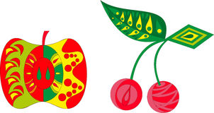 Abstract illustration set of cherry and apple. Seeds royalty free illustration