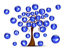 Abstract illustration with shaft and ball sports i. Abstract illustration with blue shaft and ball sports icons Stock Photography