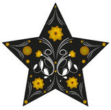 Abstract illustration of a star decorated with flowers Stock Images