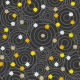 Abstract illustration with stars and circles. Seamless pattern.  Royalty Free Stock Images