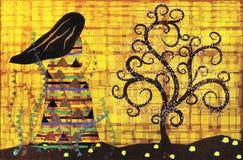 Abstract illustration in the style of Gustav Klimt. Stylized female figure looks at magic tree, abstract illustration in the style of Gustav Klimt royalty free illustration