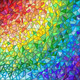 Abstract illustration in the style of stained glass , imitation colored glasses. Abstract stained glass background , the colored elements arranged in rainbow Stock Photo