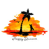 Abstract illustration - summer, beach, surfing Royalty Free Stock Photography