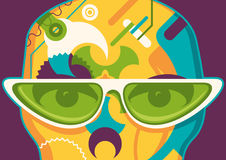 Abstract illustration with sunglasses. Royalty Free Stock Image