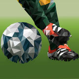 Abstract illustration on the theme of football in low poly technique Royalty Free Stock Image