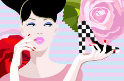 Abstract  illustration of thinking girl, shoes Royalty Free Stock Image