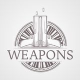 Abstract illustration of traumatic weapons badge Royalty Free Stock Photo