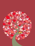 Abstract illustration tree of love with couple yellow birds. Royalty Free Stock Photography