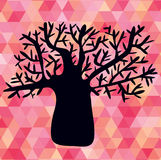 Abstract illustration with tree silhouette on triangles Stock Photos