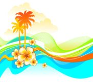 Abstract illustration with tropical flowers Stock Images