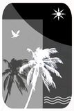 Abstract Illustration for Tropical Travel, Palm Trees, Seagulls, Royalty Free Stock Photos