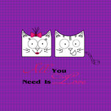 Abstract illustration of two cats in love. Illustration of two white funny love cats on a dark pink background image checkered for decoration and design Stock Photo