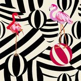 Abstract illustration of two flamingos Royalty Free Stock Photo