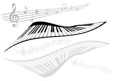 Abstract illustration of two pianos and two stave Royalty Free Stock Image