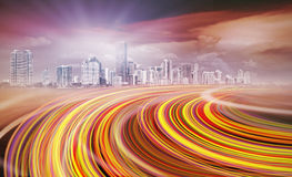 Abstract Illustration of an urban highway going to Stock Photos