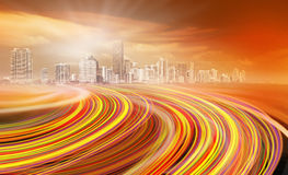 Abstract Illustration of an urban highway going to Royalty Free Stock Photography