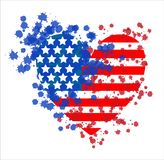 Abstract illustration of the US flag with random watercolor drops stock illustration
