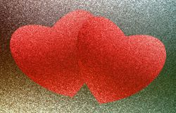 Two red hearts on a brown, green background. Oil paint effect. Royalty Free Stock Image