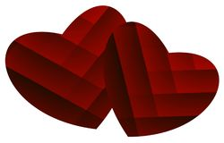 Two red hearts on a white background. Oil paint effect. Vector. Royalty Free Stock Photography