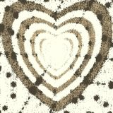 Pattern the brown heart on a white background. Paint  spray effect. Vector. Royalty Free Stock Image