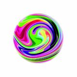 Colorful ball on a white background. Abstract illustration vector for your unique bright design. Texture painted paper. Oil paint effect. Spots of different Stock Illustration