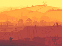 Abstract illustration of village in sunset. Vector abstract background country view of village with fields in sunset Royalty Free Stock Photography