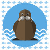 Abstract illustration with a walrus on blue water Royalty Free Stock Image