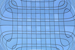Abstract illustration wide angle steel light blue glass building Royalty Free Stock Photography