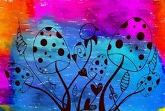 Abstract illustration with wild mushrooms Stock Photos