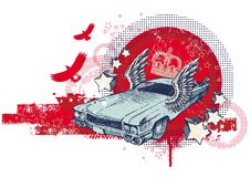 Abstract illustration with winged retro car Royalty Free Stock Photography