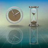 Abstract Illustration With Hourglass And Clock Stock Photo