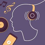Listen to music with headphones – abstract illustration royalty free illustration