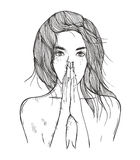 Abstract illustration woman prays Stock Images