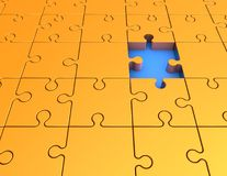 Abstract illustration with yellow jigsaw puzzles. Royalty Free Stock Photos