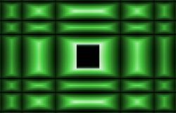Green background. Black square in the middle. Abstract illustration for your unique design. Pixel and bulk image effect. Checkered picture Stock Image