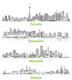 Abstract illustrations of canadian urban city skylines in grey scales on white background Royalty Free Stock Photography