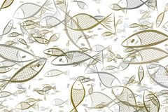 Abstract illustrations of fish, conceptual pattern. Cover, drawing, wallpaper & shape. Abstract illustrations of fish, conceptual pattern. Good for design Stock Image