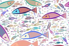 Abstract illustrations of fish, conceptual pattern. Creative, style, wild & hand-drawn. Abstract illustrations of fish, conceptual pattern. Good for design Stock Photos